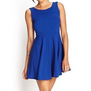 Forever 21 Royal Blue Scoop Neck Skater Dress
